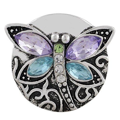 My Prime Gifts Snap Jewelry Purple & Light Blue Rhinestone Dragonfly Standard Size 18-20mm ()