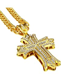 Gold Chain for Men Hip Hop Jewelry Cross Necklace 30''