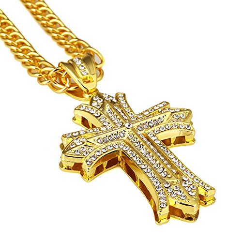NYUK Mens Hip Hop 18k Real Gold Silver Plated Textured Pendant Necklace Cross Chain-Gold