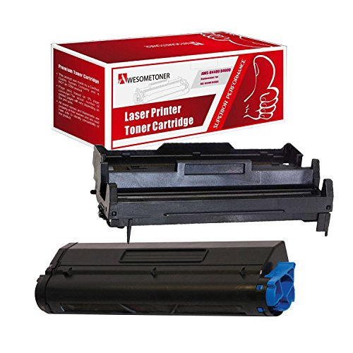 Awesometoner Compatible 2 Pack 43502002 Toner + 43501901 Drum Unit For Okidata B4400 B4600 High Yield Toner 10000 Drum 25000 Pages