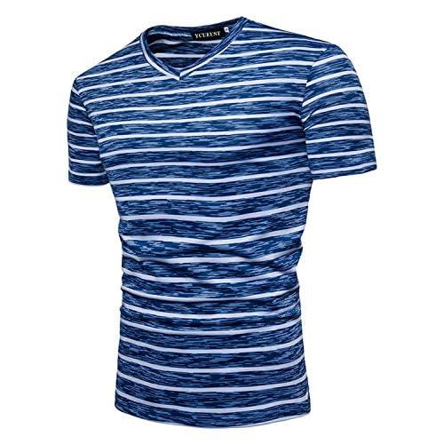 YCUEUST Camisetas Para Hombre Manga Corta a Rayas Moda Casual Tops durable  modeling 62d7b898364