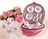 Deluxe Princess Porcelain Toy Tea Set in Pink Carry Case
