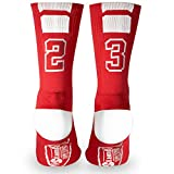 youth socks with numbers - Custom Team Number Crew Socks | Athletic Socks by ChalkTalkSPORTS | Red | 23