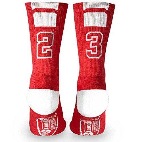 Custom Team Number Crew Socks | Athletic Socks by ChalkTalkSPORTS | Red | - Number Contact Athlete Shop
