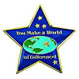 You Make a World of Difference Star-Shaped Appreciation Award Lapel Pin, 12 Pins