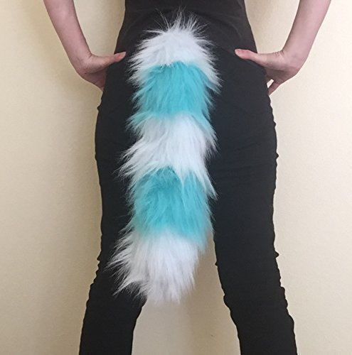 """Bianna Cheshire Light and Teal Blue Faux Fur Animal Cosplay Tail, You choose 20 25 30 35 40"""", Anime Convention Rave Costume Gear, Furry Accessory"""
