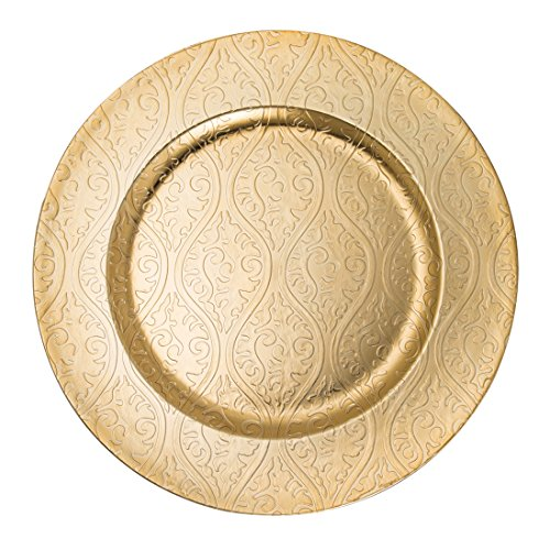 FANTASTIC :)  Round 13 Inch Plastic Charger Plates with Eletroplating Finish (1, Moslem Gold)