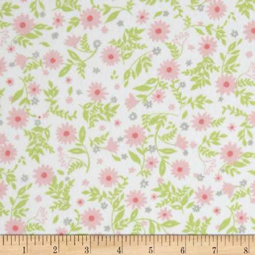 Robert Kaufman 0344252 Cozy Cotton Flannel Flowers Fabric by The Yard, Pink