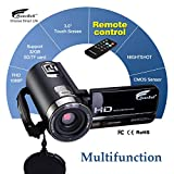 Camcorder, Hausbell 302S FHD Camcorder with Night Vision 1080p Remote Control Infrared Camera Digital Camcorder with Touch screen (Black)
