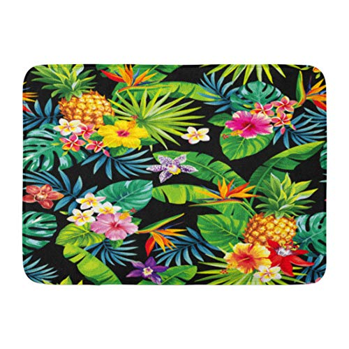 Emvency Doormats Bath Rugs Outdoor/Indoor Door Mat Green Tropic Tropical Pattern Pineapples Palm Leaves and Flowers Colorful Jungle Bathroom Decor Rug Bath Mat 16