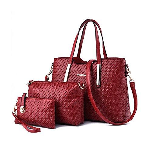 Rosso di a Nuovo modello mano Borsa Femminile tessere Borsa 4 Portafoglio borse Vino Moda Tisdain messenger Set wqpFxavF
