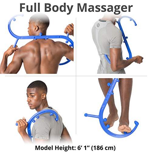Body Back Buddy Back Massager, Handheld Massage Stick, Trigger Point Massager, Massage Cane (Blue)