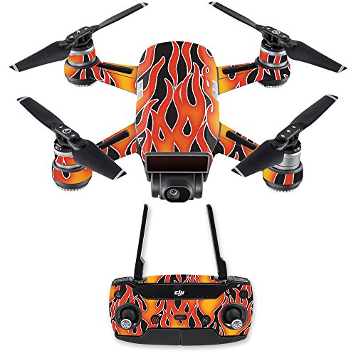 MightySkins Skin for DJI Spark Drone & Controller - Hot Flames | Protective, Durable, and Unique Vinyl Decal wrap Cover | Easy to Apply, Remove, and Change Styles | Made in The USA