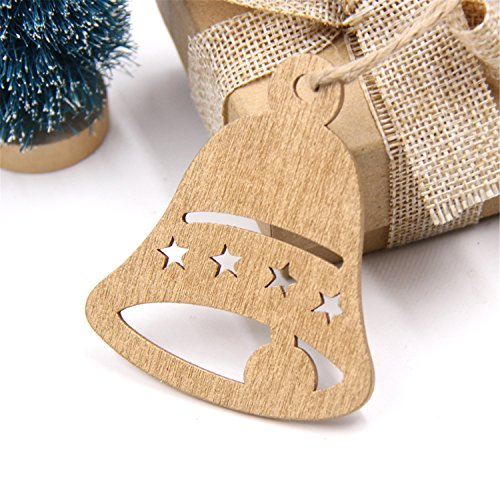 Gome-z 10PCS DIY Christmas Snowflakes&Deer&Tree Wooden Pendants Ornaments Christmas Party Decorations Xmas Tree Ornaments Kids Gifts Bell Star
