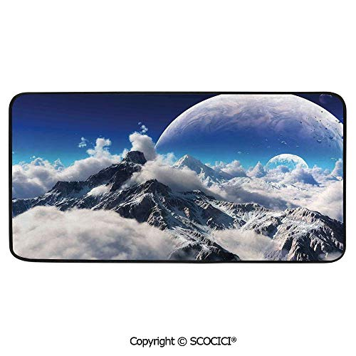 Rectangle Rugs for Bedside Fall Safety, Picnic, Art Project, Play Time, Crafts, Large Protective Mat, Thick Carpet,Bedroom Decor,Celestial View of Snow Capped Mountains and -