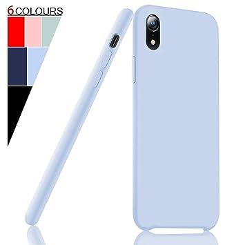 Fuleadture Funda iPhone XR, [Compatible con Carga Inalámbrica] Original Slim Líquido de Silicona Gel Carcasa Totalmente Protectora Caso Suave Cover ...