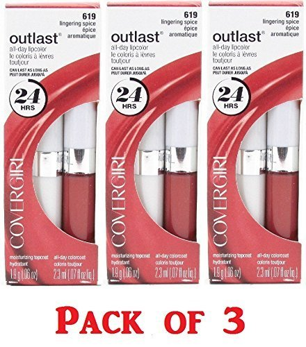 Covergirl Outlast Lipcolor, 619 Lingering Spice (3 Pack)