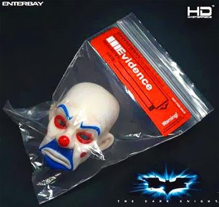Dark Knight Joker Clown Mask In Evidence Bag for HD Enterbay (Joker Bank Robber Mask)