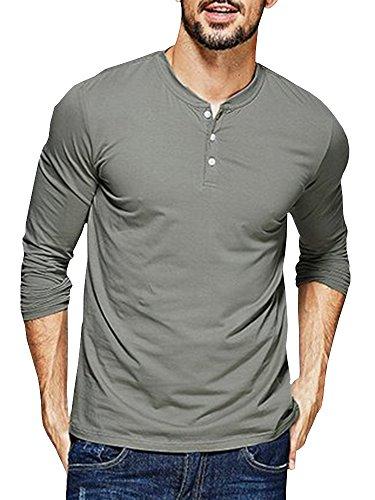 a1350231870 Seraih Men s Long Sleeve Henley Tee Raglan Sleeve Shirts (S