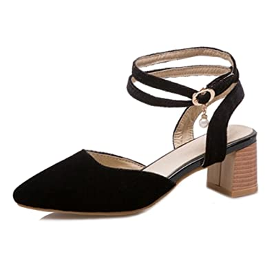 79faa17992a SJJH Sandals with Chunky Heel and Pointed Toe Women Velvet Pumps with Large  Black