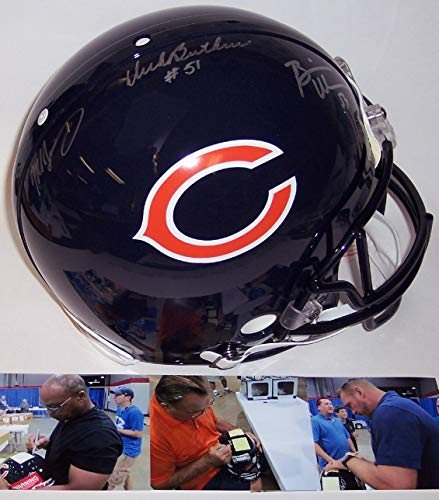Dick Butkus Signed Pro Football - Dick Butkus/Mike Singletary/Brian Urlacher Autographed Hand Signed Chicago Bears Full Size Authentic Pro Football Helmet - PSA/DNA