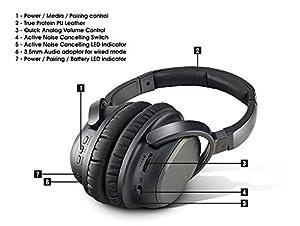 Golzer BANC-50 Bluetooth 4.1 High Fidelity Active Noise Cancelling Wireless OverEar Headphones w/ apt-x
