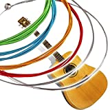 Amicikart Multi Color Acoustic Guitar Strings 6 Pcs Made Of Stainless Steel Alloy