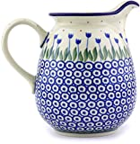 Polish Pottery 3½ cups Pitcher made by Ceramika Artystyczna (Water Tulip Theme) + Certificate of Authenticity