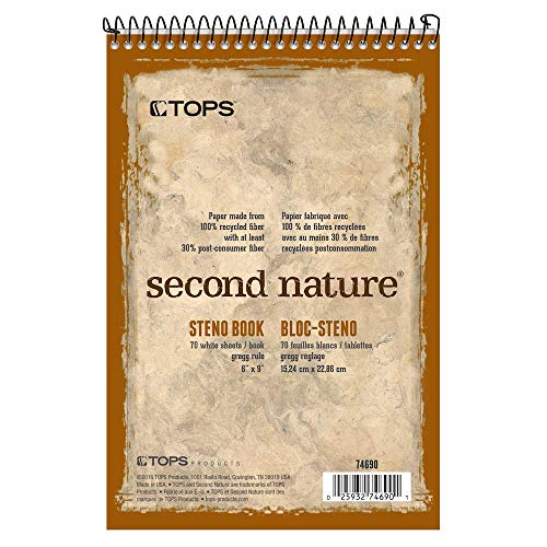 Tops Second Nature Spiral - TOPS Second Nature Spiral Steno Books, Recycled, 6 x 9 Inches, Gregg Rule, Tan Cover, 70 Sheets Per Book (74690)
