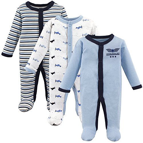 Luvable Friends Baby Infant Sleep and Play, 3 Pack, Airplanes, Preemie (Preemie Pajamas)