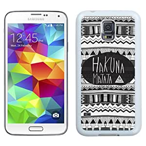Durable and Easy set Galaxy S5 Case,Durable I9600 Case Design with Hakuna Matata Samsung Galaxy S5 SV I9600 Case in White