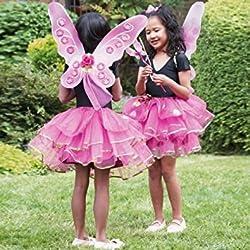 Girls Kids Sugar Plum Fairy Butterfly Princess Fancy Dress Costume - Tutu Skirt, Wand & Wings Set 3 Years + by DUBD