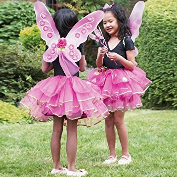 Girls Kids Sugar Plum Fairy Butterfly Princess Fancy Dress Costume - Tutu Skirt, Wand & Wings Set 3 Years + by DUBD
