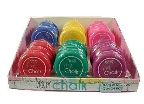Malibu Glitz Hair Coloring Tools 6 Colors Hair Chalk 24 pcs by Malibu Glitz