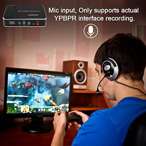 AGPtek HD Game Capture Card HD Video Capture 1080P HDMI/YPBPR Video Recorder for Xbox 360 Xbox One/ PS3 PS4/ Wii U,Support Mic in with YPBPR Input