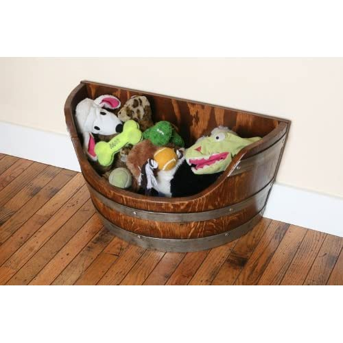 well-wreapped Pet Toy Box, Toy Bin Made From Solid Oak Wine Barrel By Wine Barrel Creations