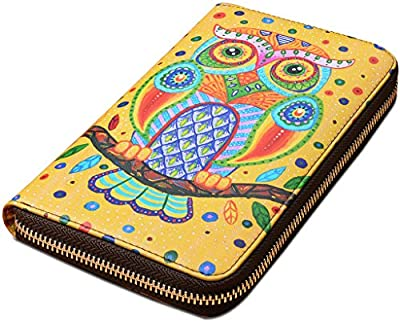 Yahoho Women's Owl Large Genuine Leather Zipper Wallet Coin Case Phone Checkbook Card Holder