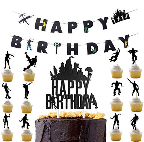 Awyjcas Video Game Party Favors Birthday Banner and Cupcake Topper Party Supplies Baby Boy Birthday Cake Topper Floss Dance Like a Boss Party Decoration ()