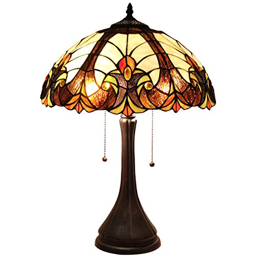 Bieye L11414 Victorian Tiffany Style Stained Glass Table Lamp with 16 Inch Wide Lampshade, 2-Light Pull Chain Switch, 22 Inch - Glass Inch Lamp Stained 16