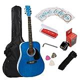 Full Size Acoustic Guitar Music 41 Inch Guitar Starter Kit Dreadnought Beginner Package - Gloss Blue