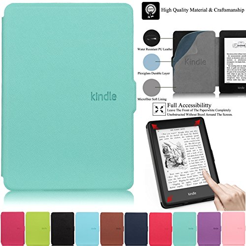 Kindle Paperwhite Case,Artyond PU Leather Case with Auto Wake/Sleep Feature Smart Cover Thinnest and Lightest Case for Amazon Kindle Paperwhite (Fits All 2012, 2013, 2015 and 2016 Versions)(Mint)
