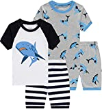 Pajamas for Boys Baby Shark Clothes Summer Toddler Kids 4 Pieces Short Pj
