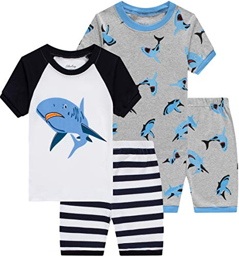 Pajamas for Boys Baby Shark Clothes Summer Toddler Kids 4 Pieces Short Pj Set 8t