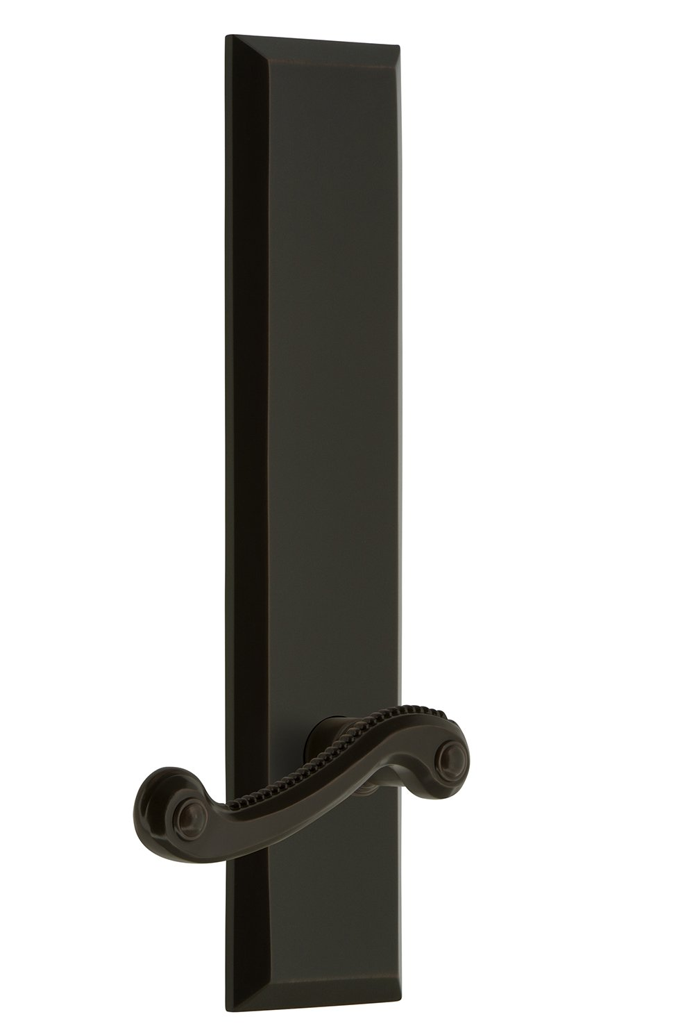 Grandeur 836655 Hardware Fifth Avenue Tall Plate Double Dummy with Newport Lever in Timeless Bronze