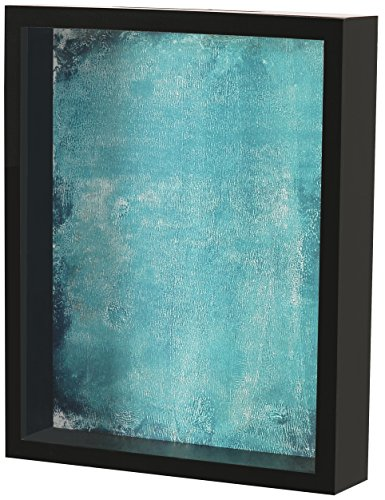 Shadow Box Display Case - Top Loading Black Wood Frame - Showcase Bottle Caps, Shells, Ticket Stubs, Airline Tickets, and More (Turquoise) -