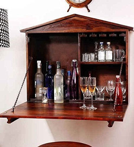 Green Wood Stylish Bar Cabinet with Wine Glass Storage for Living Room | Walnut Finish