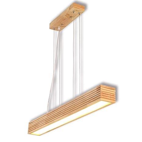 Lámpara colgante de madera Lámpara de mesa de comedor LED ...
