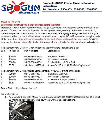 Shogun 2008 2009 2010 Kawasaki ZX10R ZX10 ZX 10 Carbon Fiber Frame Sliders 710-4939 MADE IN THE USA