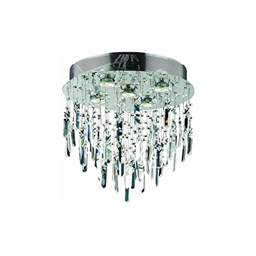 Elegant Lighting 2006F16SC/EC Galaxy Collection 5-Light Flush Mount Prism Drops Elegant Cut Crystals with Chrome Finish Ec Galaxy Ceiling Pendant
