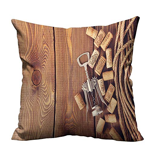 (YouXianHome Home DecorCushion Covers Wine Corks and Corkscrew Over Rustic Wooden Table Background Top View with Copy Space Comfortable and Breathable(Double-Sided Printing) 21.5x21.5 inch)